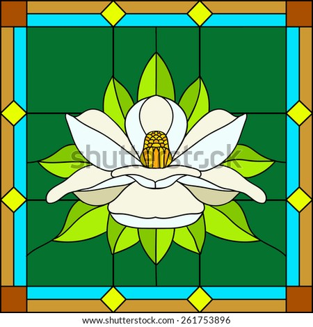 Vector illustration lotus, water lily, magnolia in Stained glass window. Flower enlightenment - stock vector