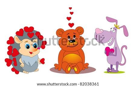 vector illustration: love animal set - stock vector