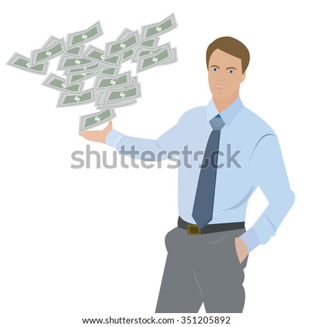 Vector illustration male points to money