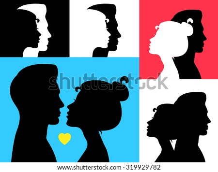 Vector illustration. Man and woman profiles