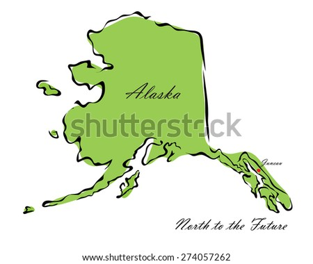 Vector illustration map Alaska of America isolated on a white background - stock vector