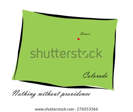 Vector illustration map Colorado is one of the states of America isolated on a white background - stock vector