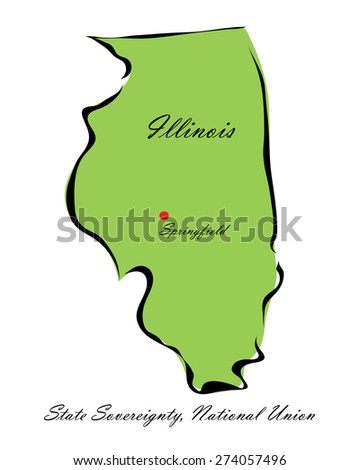 Vector illustration map Illinois of America isolated on a white background - stock vector