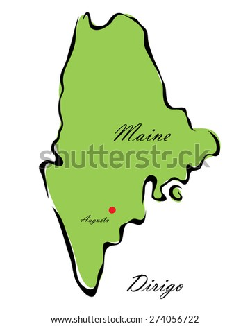 Vector illustration map Maine of America isolated on a white background - stock vector