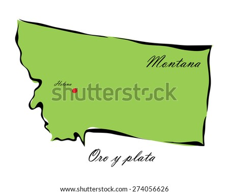 Vector illustration map Montana of America isolated on a white background - stock vector