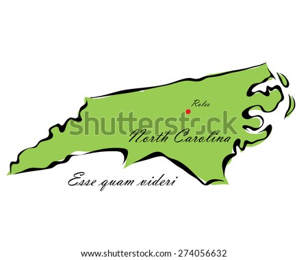 Vector illustration map North Carolina of America isolated on a white background - stock vector