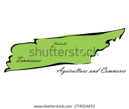 Vector illustration map Tennessee of America isolated on a white background - stock vector