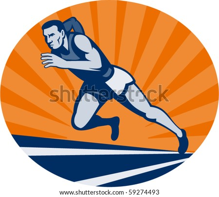vector illustration Marathon runner on track with sunburst viewed from an extremely low angle. - stock vector