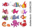 Vector illustration, marine animals, cartoon concept, white background. - stock vector