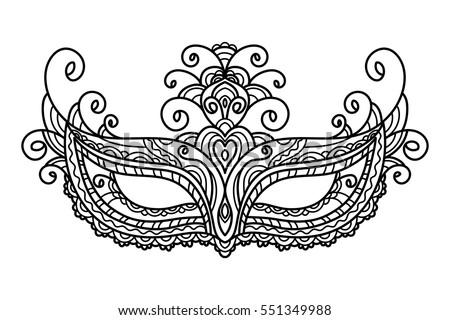 vector illustration mask holiday carnival masquerade mardi gras coloring - Mardi Gras Coloring Pages