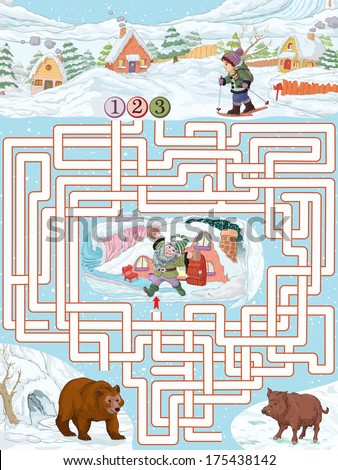 Vector illustration, maze, help the boy to reach the dwarf house, card concept.