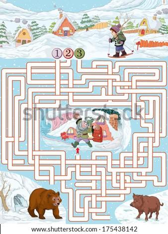 Vector illustration, maze, help the boy to reach the dwarf house, card concept. - stock vector