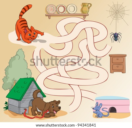 Vector illustration, maze, how the cat can reach the mouse, card concept. - stock vector