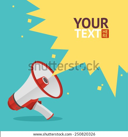 Vector illustration megaphone sign card. Loudspeaker symbol. - stock vector