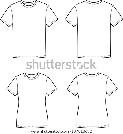 Vector illustration. Men's and women's t-shirts. Front and back views - stock vector