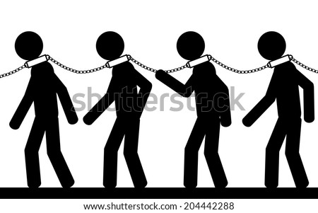 Vector Illustration Men Chains On Their Stock Vector ...