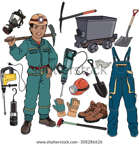 Vector illustration, miner gear, cartoon concept, white background.