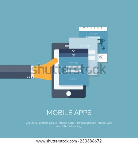 Vector illustration. Mobile apps. Programming and coding. Flat ui. - stock vector