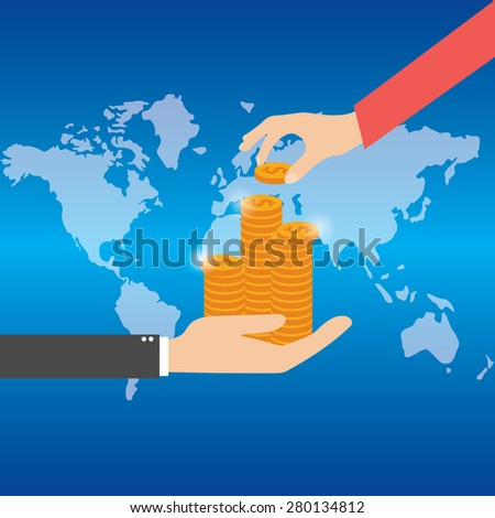 Vector illustration. Money and money making. shopping. Business.