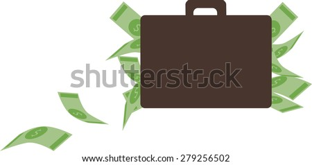 Vector illustration. Money concept. Bills and suitcase.