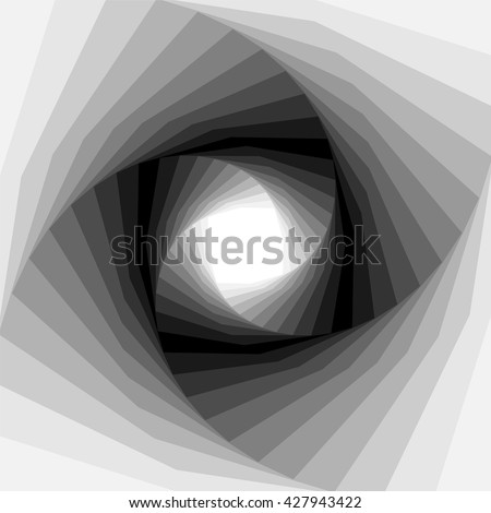 Vector Illustration. Monochrome Helix Shimmering from Light to Dark Tones and  Expanding from the Center. Optical Illusion of Depth and Volume. Suitable for Web Design. - stock vector