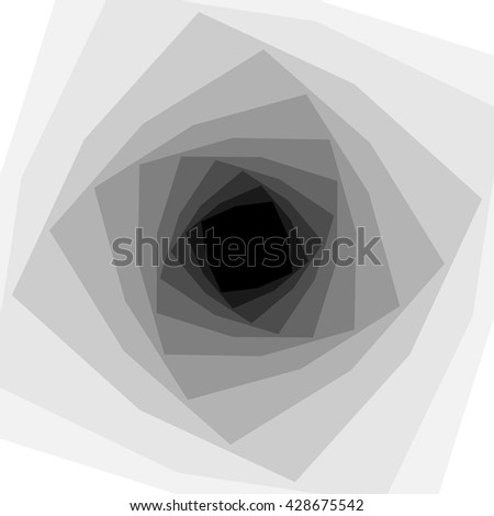 Vector Illustration. Monochrome Helix Shimmering from White to Black Color and  Expanding from the Center. Optical Illusion of Depth and Volume. Suitable for Web Design. - stock vector