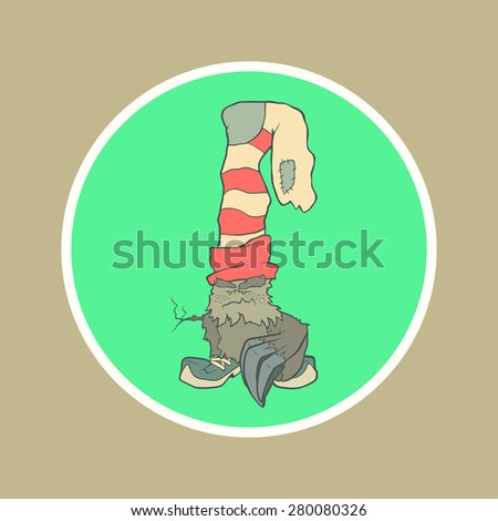 Vector illustration monster with a sock or stocking on his head with large claws on the paw and the branch instead of the second hand in the circle. Hand drawing cartoon. The concept of the character - stock vector