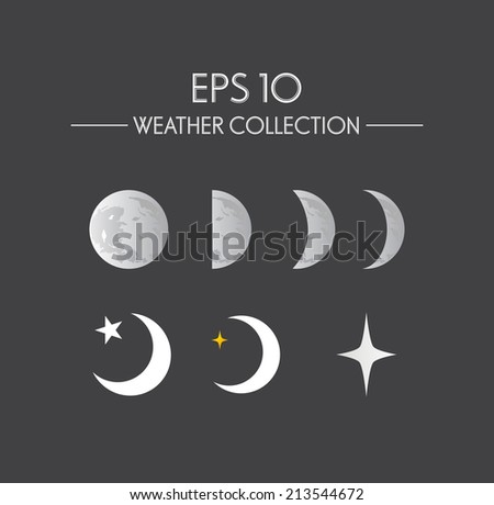 Vector illustration. Moon phases with stars - stock vector