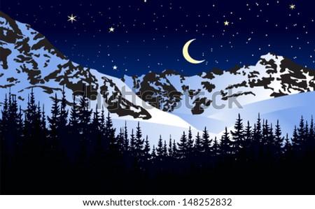 Vector illustration moonlit night in winter mountains - stock vector