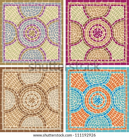 Vector illustration mosaic tiles background in antique style  - stock vector