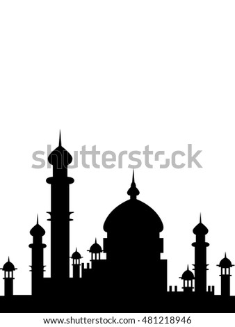 Vector illustration, Mosque Silhouette black isolated on white. Can be used as as a poster, or postcard