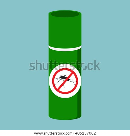 Vector illustration mosquito spray bottle icon. Mosquito, insect stop sign - stock vector