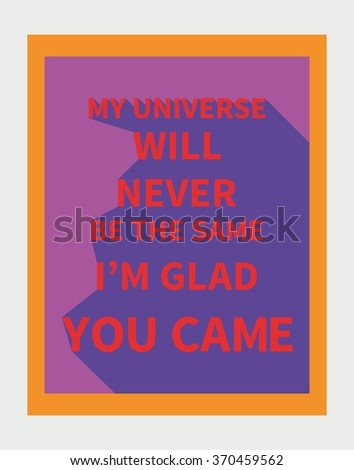 Vector illustration: motivation poster with love slogan with diagonal shadow made in bright colors and pop-art style