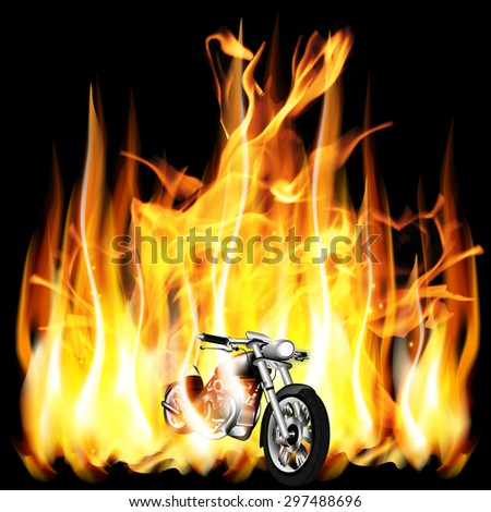 vector illustration motorbike travels on a background of fire flame in the dark - stock vector