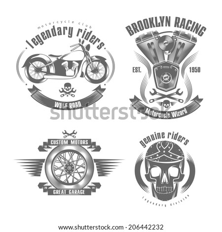 vector illustration motorcycle typography, t-shirt graphics set of labels and badges on bikers and motorcycles - stock vector