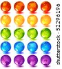 Vector illustration -20 multi-coloured glass globes - stock vector