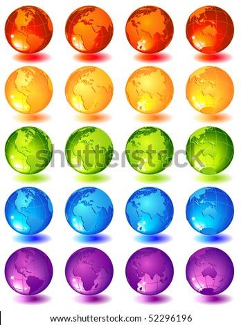 Vector illustration -20 multi-coloured glass globes - stock vector