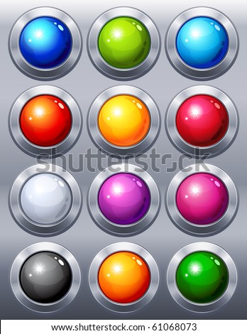Vector illustration - 12 multi-coloured  web buttons - stock vector