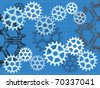 vector illustration Multiple gears on blueprint grid sketch hand draw style editable vector illustration - stock vector