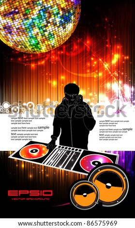 Vector illustration music event with DJ - stock vector