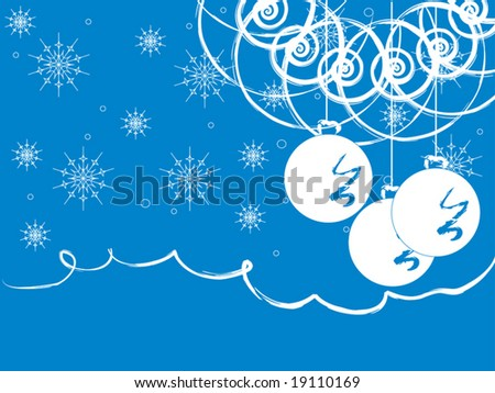 Vector illustration. New Year Tree card with balls.