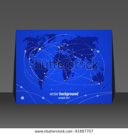 Vector illustration night travel world map flyer design - stock vector