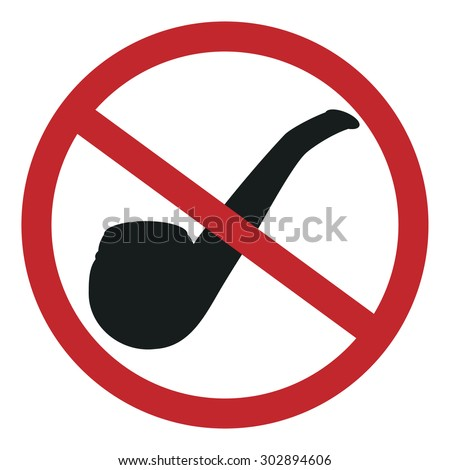 Vector illustration no smoking sign with tobacco pipe symbols. Smoking pipe.  - stock vector