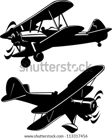 Vector illustration of a airplanes black and white - stock vector