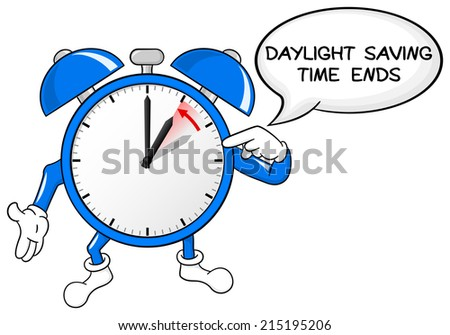 vector illustration of a alarm clock return to standard time daylight saving time ends - stock vector