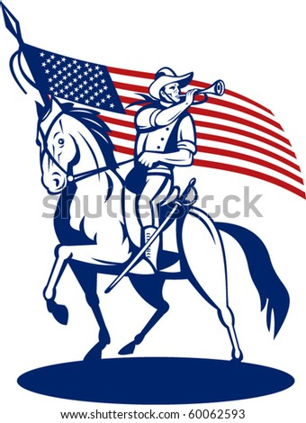 vector illustration of a American cavalry riding horse blowing a bugle and stars and stripes flag in background