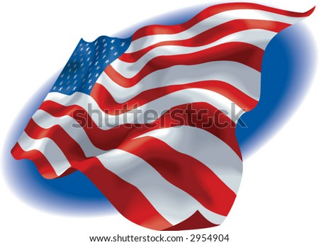 Vector illustration of a American Flag with a blue fading background - stock vector