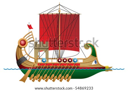 vector illustration of a antique ship. Simple gradients only - no gradient mesh. - stock vector