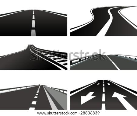 Vector Illustration of a asphalt road - stock vector