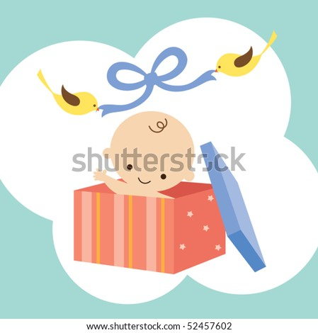 Vector illustration of a baby in a gift box with two birds holding ribbon. - stock vector